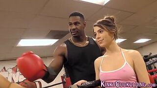 Domina cuckolds in boxing gym for sperm