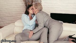 GIRLSWAY Mommy Lesbo Gifts Aidra Fox a Power Suit