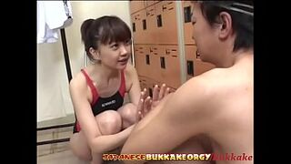 Small Size Japanese Swimmer gets her hot face seed covered - Japanese Blast Orgy