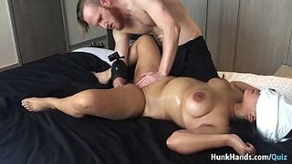 20 yo Asian Inexperienced gf SLAPPED... SQUIRTS! Enormous Bum Real Massage in a Singapore Hotel