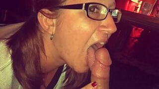 Halftime oral sex and giant jizzshot