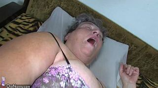 Old chubby mother in law teaches her chubby y. wife masturbating use fake cock