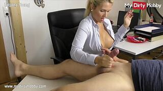 MyDirtyHobby - Chesty secretary gives her boss a self-stimulation at the office while smoking