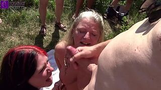 Mother and stepsister were dirty used by countless fellas at a bathing lake! Part four