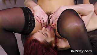 Fetish pissing lesbians get soaking moist and get intimate