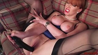 Sultry Mother Red Hair in Lingerie Fingers Her Cunt