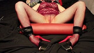 Escort female has a screaming orgasm while is tied down on the bed