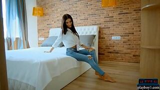 Bony Russian adolescent lovely strips out of her jeans