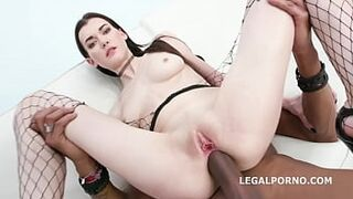Small Size Russian Dark-Haired Ariana Shine Gets Every Hole Destroyed by MASSIVE BLACK COCKS