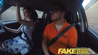 Fake Driving School Posh freaky ginger with immense boobs and redhead bush fucks
