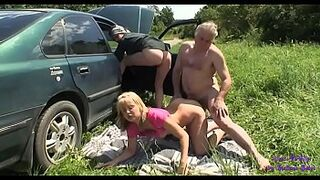 His car breaks down and an elderly fella offers to repair it in swap for sexual intercourse