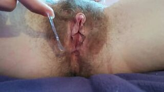 giant clit vagina getting pulled with pussy toy dripping closeup hairy cunt orgasm