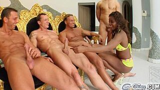 Sperm For Cover Cream shower by these 4 cocks for Jasmin