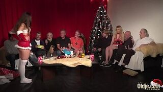 Old Baby Orgy 9 Old Guys two Teens hardcore Christmas group shag special