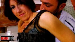 Mother housewife bum screwed in the kitchen and cum on face jizzshot