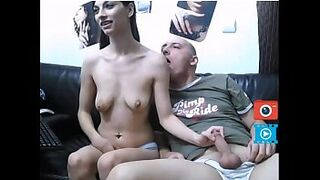 couple self-stimulation in front of webcam