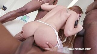 Russian adolescent Stacy Snake racially mixed DAP with four Ebony lads balls deep!