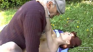 Adorable newbie daughter french ginger humped by oldman voyeur outdoor