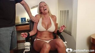 Chesty light-colored girlfriend gets bound and tickled