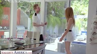 Naughty America - Tennis instructor gets surprised and fucks his user, Ashley Lane