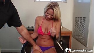 Lustful Platinium gets tickled while tied up