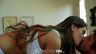 FantasyHD - Canadian hot August Ames strips down to screw