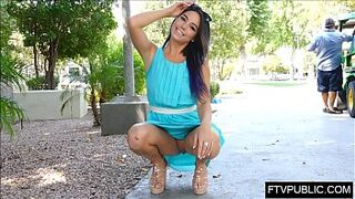 girl upskirt no panties in busy park