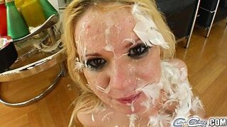 Jizz For Cover Her intimacy for sperm is as plain as the mess on her face