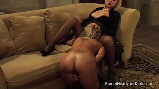 Gorgeous Gay Woman Slave On Her Knees Pleasuring Dominant Madame