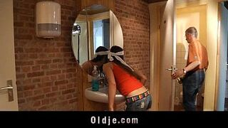 Old lad pumps in bum a teenager slutty cleaning female