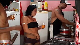 While Mike Cute is in the Kitchen making food, Danny Hot's slut is getting banged rough by the gifted and makes her come a lot