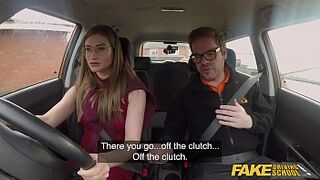 Fake Driving School Excited Russian tutor creampied