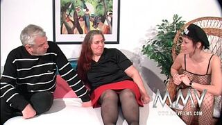 MMV Films German hoe helping out a curvy mommy female to orgasm