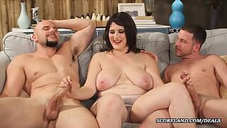 the lady with massive natural big boobs makes a Menage a Trois
