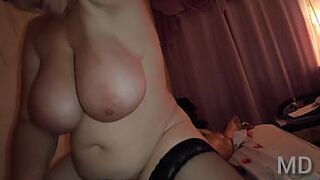 Mommy Russian wife with enormous boobs sit on a daughter penis