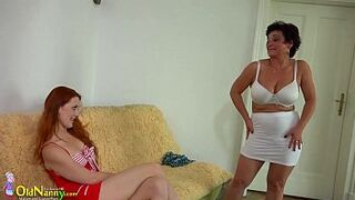 OldNanny Chesty BBW wife and homosexual girl ginger sweet sixteen
