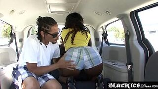 Bootylicious black escort Envy Luv gets hammered in a car