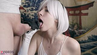 Cum mania! Appealing slobbering oral from my girlfriend! Cosplay 2B NieR! Divinely Sucks A Curvy Penis!
