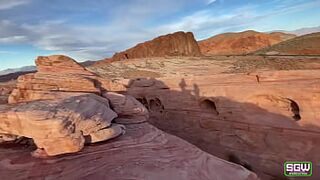 Fit couple have beautiful excited in the Valley of Fire