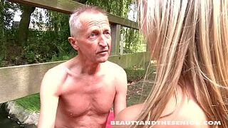 Superb adolescent beauty suck and bang an old dick