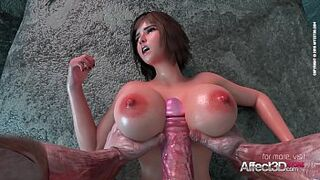 Giant bobbies beauty queen banged by an ancient monster in a 3d animation