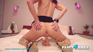 Flirt4Free - Adele Aphrodite - Excited Rock Bodied Cam Adolescent in Heels Jams Massive Fake Cock in Her Stretched Vagina