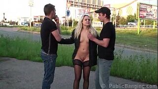 Platinium pretty banged by two fellas in outdoors in the middle of a street