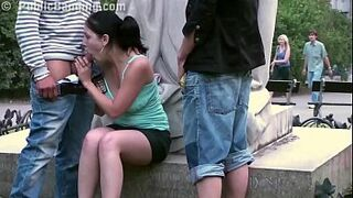 Audacious OUTSIDE intercourse sex in three by a famous statue in the middle of the city