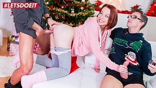 LETSDOEIT - Eighteen Years Old Cutie Rebeca Dark Has Menage A Trois Christmas Sex Act After Photo Shoot