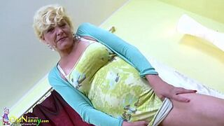 OldNannY Yellowish Mommy Solo Titplay and Fingering
