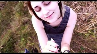 Horny girl fucking public space in lovely dress Public Space POV