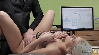 LOAN4K. Pretty Blanche sucks man meat and gets her sissy banged for money