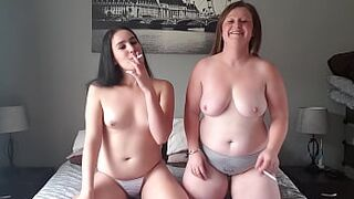 Smoking a cigarette topless with my slutty friend