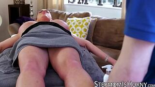 UK red hair Emma Booty riding stepson after massage